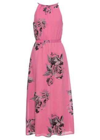 Długa sukienka bonprix matowy różowy z nadrukiem