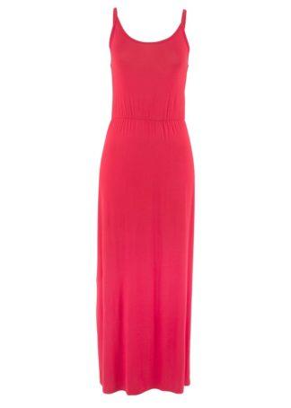 Długa sukienka z lejącej wiskozy bonprix czerwony