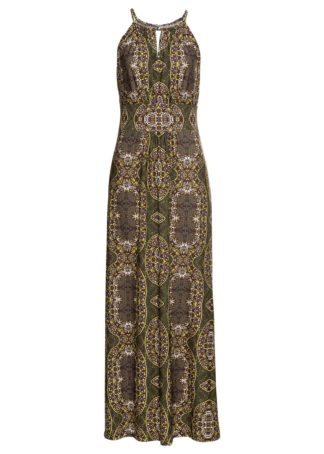 Długa sukienka bonprix oliwkowy z nadrukiem