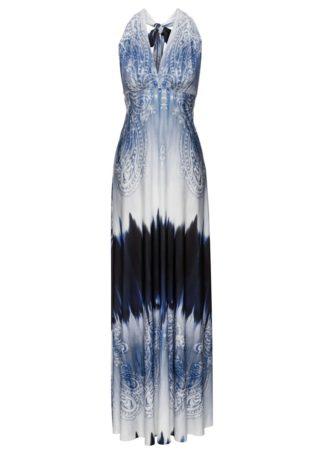 Długa letnia sukienka bonprix niebieski