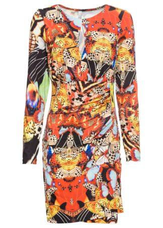 Długa sukienka bonprix czarno-czerwono-żółty