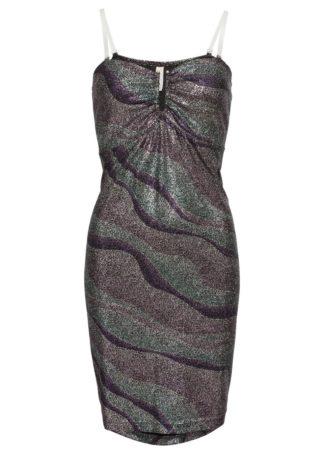 Sukienka brokatowa bonprix lila-srebrny wzorzysty