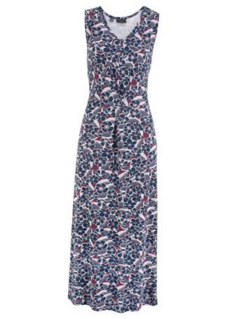 Długa sukienka z nadrukiem bonprix czerwony klonowy z nadrukiem