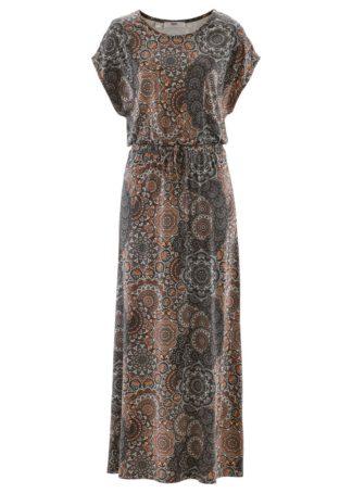 Długa sukienka bonprix czarno-biały wzorzysty
