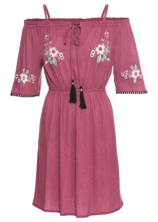 Sukienka z haftem bonprix jagodowy