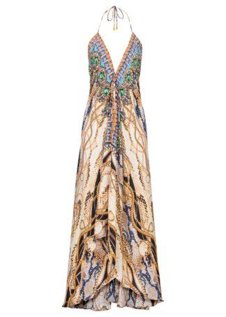 Długa sukienka z nadrukiem bonprix brązowy wzorzysty