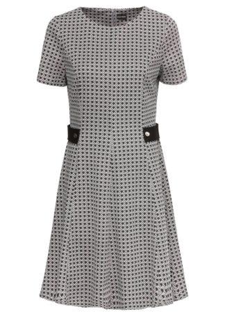 Sukienka bonprix szaro-czarny z nadrukiem