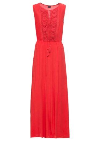Długa sukienka z haftem bonprix czerwony