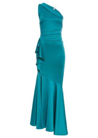Długa sukienka z falbanami bonprix ciemnozielony
