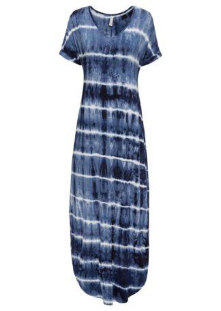 """Długa sukienka bonprix niebieski """"stone"""" - biały wzorzysty"""
