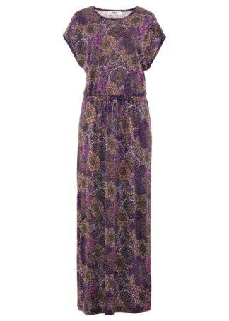 Długa sukienka bonprix ciemny lila wzorzysty