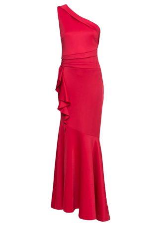 Długa sukienka z falbanami bonprix czerwony