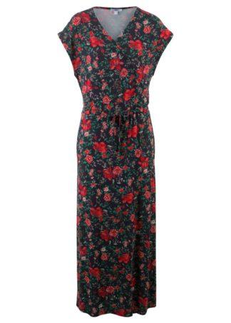 Długa sukienka bonprix ciemnoniebieski w kwiaty