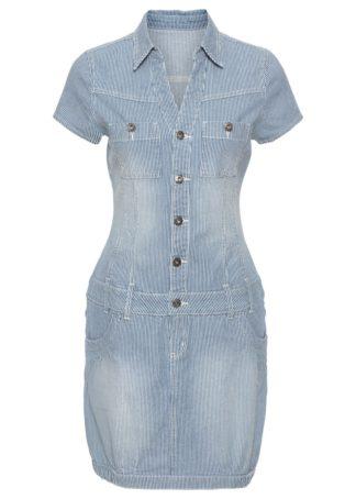 Sukienka dżinsowa bonprix indygo w paski