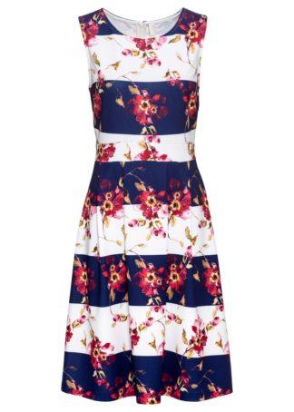 Letnia sukienka z nadrukiem bonprix niebiesko-biały w paski