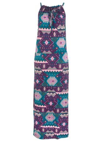 Długa sukienka z nadrukiem bonprix ciemny lila z nadrukiem