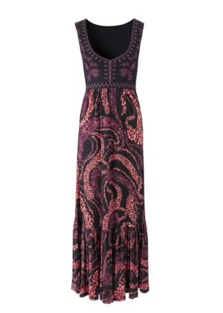 Długa sukienka bonprix czarno-koralowy