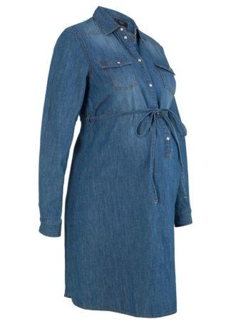 """Sukienka bawełniana dla ciężarnych i karmiących piersią bonprix niebieski """"stone"""""""