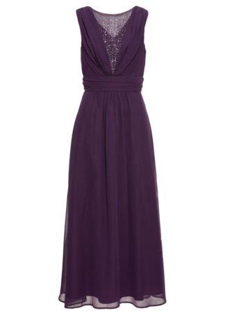 Długa sukienka bonprix ciemny lila