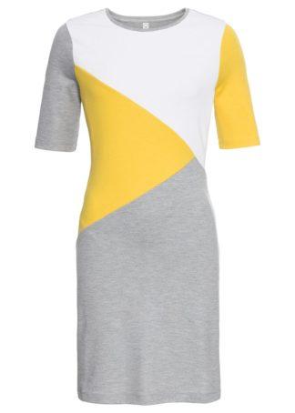 Sukienka dresowa bonprix jasnoszary melanż - biały - żółty kanarkowy z nadrukiem