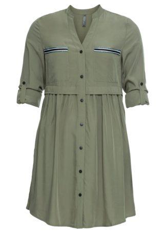 Krótka sukienka szmizjerka bonprix oliwkowy