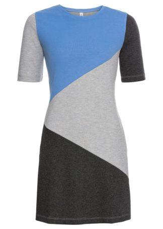 Sukienka dresowa bonprix antracytowy melanż - jasnoszary melanż - niebieski z nadrukiem