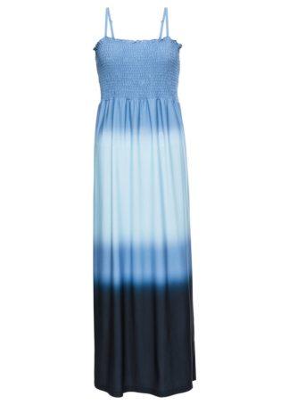 Długa sukienka batikowa bonprix niebieski z nadrukiem