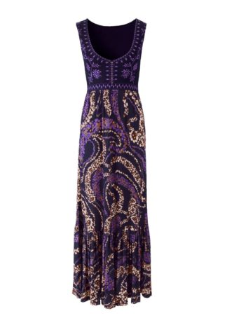 Długa sukienka bonprix czarno-lila