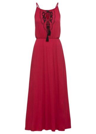 Długa sukienka z dżerseju bonprix ciemnoczerwono-czarny