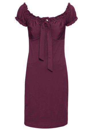 Sukienka z dekoltem carmen bonprix jeżynowy