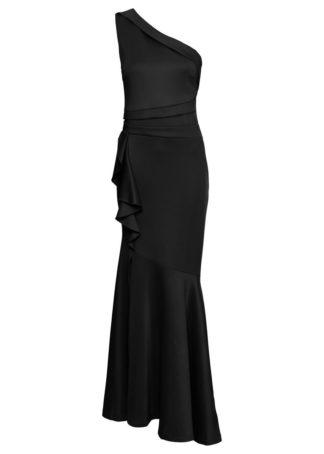 Długa sukienka z falbanami bonprix czarny