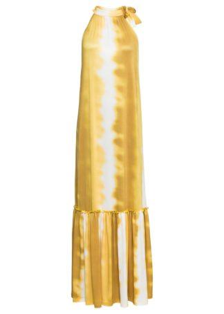 Długa sukienka bonprix biel wełny - żółty kanarkowy z nadrukiem
