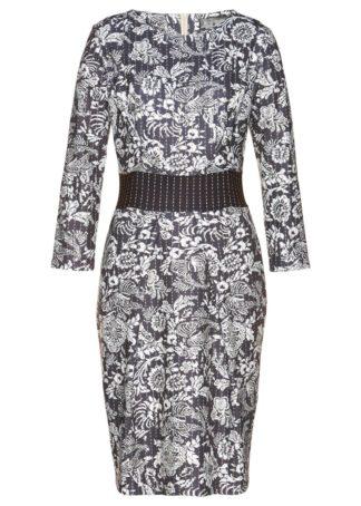 Sukienka dresowa bonprix ciemnoszaro-biel wełny - jasnobrązowy z nadrukiem