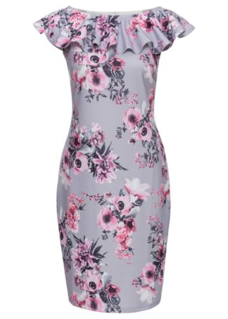 Sukienka bonprix jasnoróżowo-szary w kwiaty