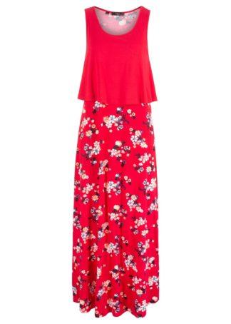 Długa sukienka bonprix czerwony z nadrukiem