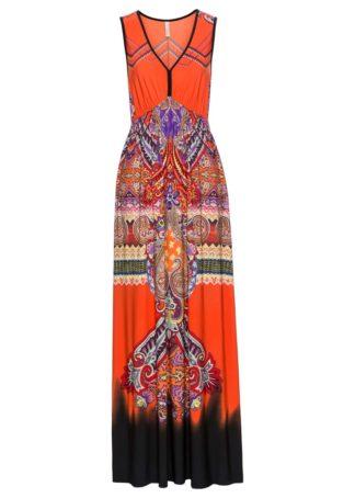 Długa sukienka bonprix ciemnopomarańczowy wzorzysty