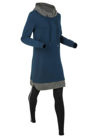 Długa bluza dresowa z legginsami bonprix ciemnoniebiesko-czarny