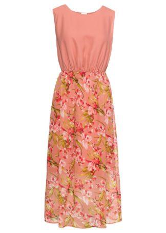 Długa sukienka bonprix dymny brzoskwiniowy w kwiaty