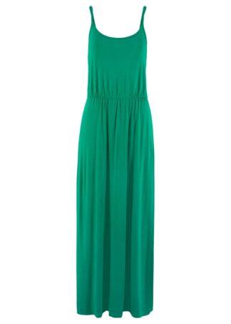Długa sukienka z lejącej wiskozy bonprix zielony miętowy