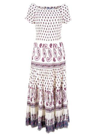 Długa sukienka bonprix biel wełny z nadrukiem