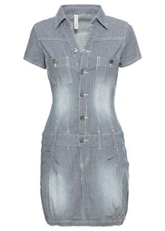Sukienka dżinsowa bonprix ciemnoniebieski w paski