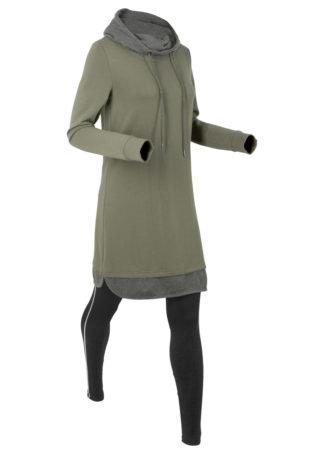 Długa bluza dresowa z legginsami bonprix oliwkowo-czarny