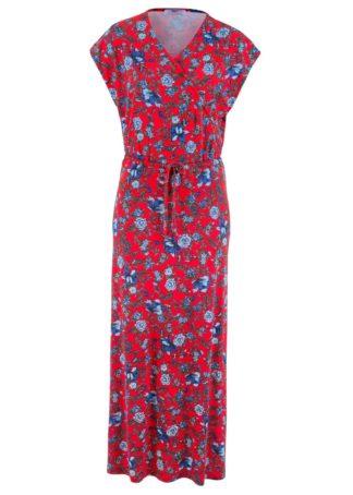 Długa sukienka bonprix truskawkowy w kwiaty