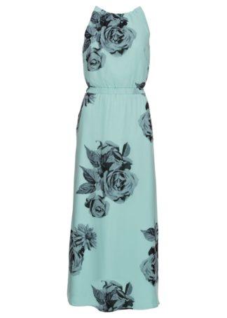 Długa sukienka bonprix morski pastelowy z nadrukiem