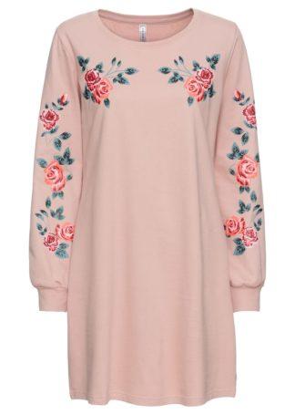 Sukienka dresowa w kwiaty bonprix stary jasnoróżowy z nadrukiem