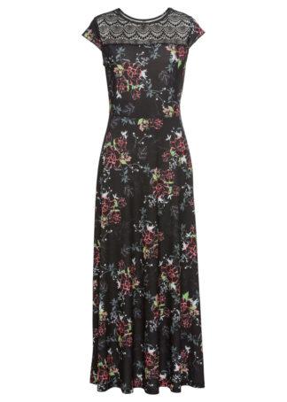 Długa sukienka bonprix czarny w kwiaty