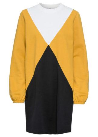 Sukienka dresowa bonprix czarno-żółty