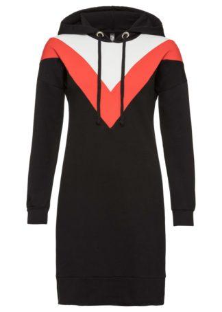 Sukienka dresowa bonprix czarno-pomarańczowy