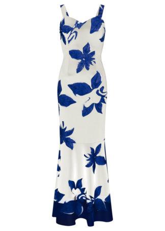 Długa sukienka z tropikalnym nadrukiem bonprix biało-niebieski z nadrukiem