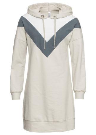 Sukienka dresowa bonprix beżowo-biały
